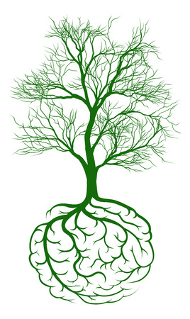 A tree growing from rooots shaped like a human brain Illustration