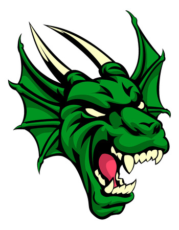 An illustration of a dragon animal mean sports mascot head Vector Illustration