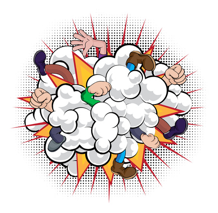 Una caricatura estilo cómic lucha contra la nube de polvo con personas que luchan con solo puños, manos y piernas visibles