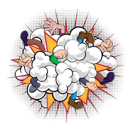 Une bande dessinée de dessin animé style livre combat nuage de poussière avec des personnes qui se battent avec seulement les poings, les mains et les jambes visibles