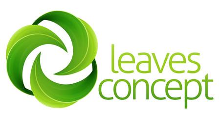 Conceptuele icoon van de cirkel groene bladeren met elkaar verweven.