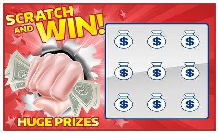 Una lotería instantánea rasca y gana de rasca y gana con un dinero en efectivo de la mano del puño Ilustración de vector