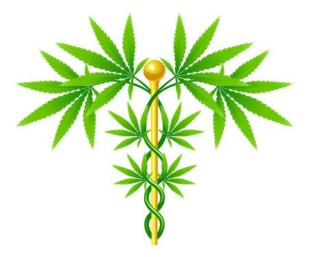 棒の周りに絡み合っての葉で大麻植物と医療用マリファナ植物カドゥケウス コンセプト シンボル