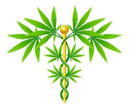 A medical marijuana plant caduceus concept symbol with cannabis plant with leaves intertwined around a rod
