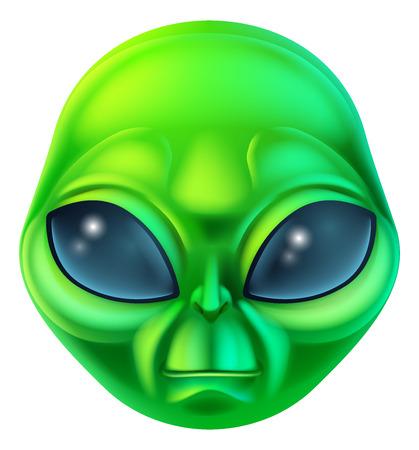 Een vriendelijke groene cartoon alien buitenaards karakter