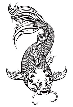 Una ilustración original de un pez carpa koi en un estilo de grabado en madera vintage