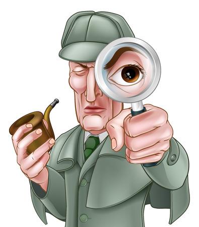 Un personaggio dei cartoni animati in stile vittoriano detective guardando attraverso una lente d'ingrandimento