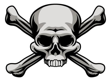 Un cráneo y las tibias cruzadas ilustración como un Jolly Roger señal o advertencia veneno icono piratas