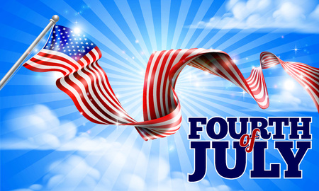 A Fourth of July Independence Day American flag in the sky ribbon background design