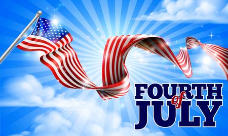 Una bandera Cuatro de Julio Día de la Independencia de Estados Unidos en el diseño cielo cinta fondo Ilustración de vector