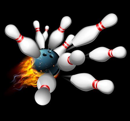 ストライキを取得ピンに激突燃えるようなボウリングのボール