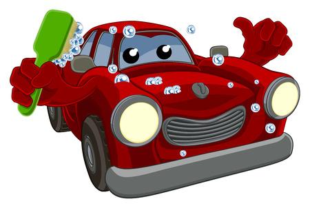 Ein Autowasch Maskottchen Cartoon Daumen nach oben und halten eine Reinigungsbürste mit Seifenlauge zu geben