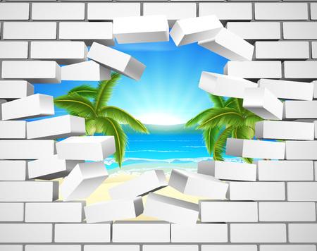 Una playa tropical visible detrás de una pared de ladrillo blanco. Concepto de oportunidades o de un futuro positivo. Ilustración de vector
