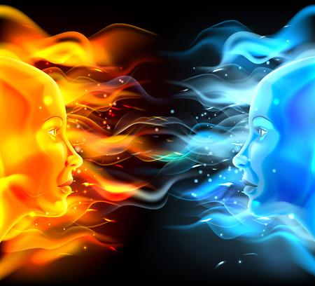 Opposites Gesichter Konzept der zwei Gesichter mit Feuer oder Flammen ein hot orange und ein kaltes Blau. Könnte ein Konzept für die Sonne und Mond, heiß und kalt, Sommer und Winter, Leidenschaft und Logik oder ähnlich sein.