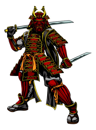 An illustration of a Japanese samurai warrior standing and holding two swords Vectores