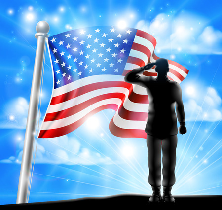 A silhouette soldier saluting with American Flag in the background, design for Memorial Day or Veterans Day Ilustração