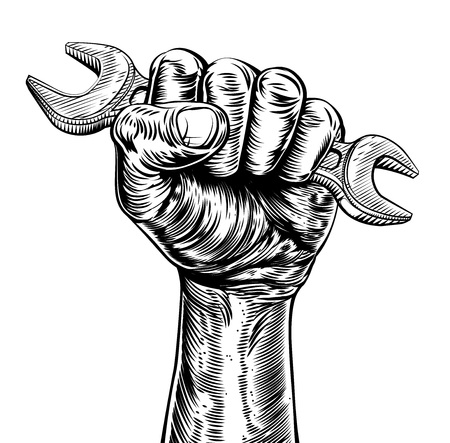 A vintage etched woodcut style fist holding a spanner or wrench tool