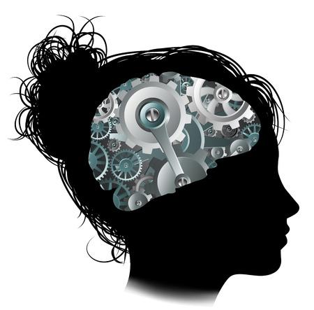 Silhouet van een vrouw met een brein dat bestaat uit toestellen of radertjes werking machineonderdelen