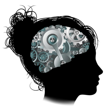 Silhouette of a woman with a brain made up of gears or cogs workings machine parts