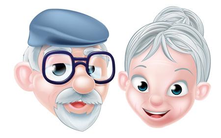 漫画文字老夫婦高齢者の年金受給者の祖父母 OAP の古いカップル男と女  イラスト・ベクター素材