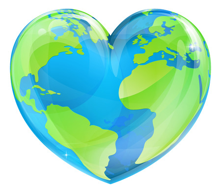 An Earth world globe in a heart shape, could be a concept for world Earth Day Ilustração