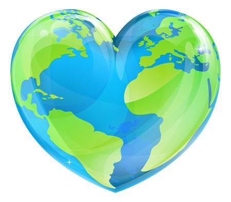 Un globo del mondo terrestre a forma di cuore, potrebbe essere un concetto per la Giornata Mondiale della Terra Vettoriali