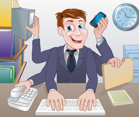 Ein Cartoon-Multitasking-Geschäftsmann mit vielen Armen vaus Office-Aufgaben zu tun Vektorgrafik