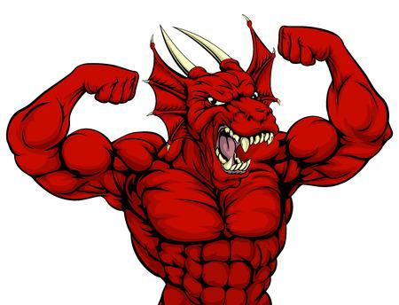 Cartoon dure moyenne forte mascotte de sports de dragon rouge montrant ses muscles du bras bicept