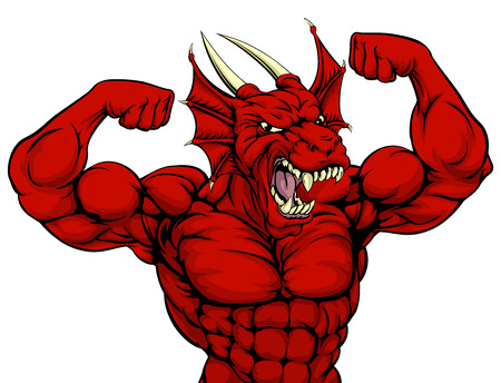 Cartoon tough mean strong red dragon sports mascot showing his bicept arm muscles