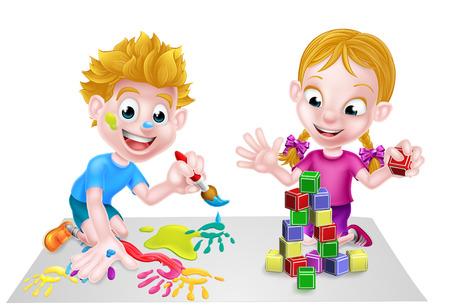 Eine Glückliche Cartoon Jungen Kind Kind Mit Dem Bau Oder ...