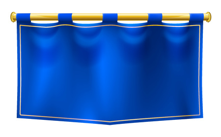A medieval style blue banner flag suspended on a gold pole