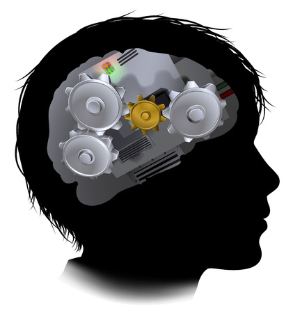 Silhouette of a boy child with a brain made up of gears or cogs machine parts workings