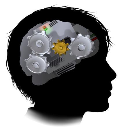 Silueta de un niño chico con un cerebro compuesto de engranajes o engranajes piezas de maquinaria funcionamiento