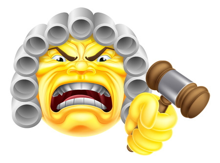 An angry judge emoji emoticon icon character illustration Çizim