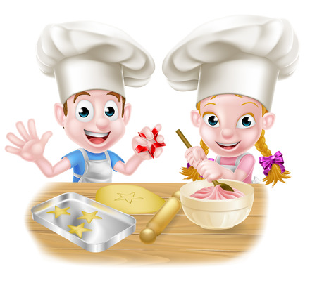 Cartoon chef kids baking cakes and cookies