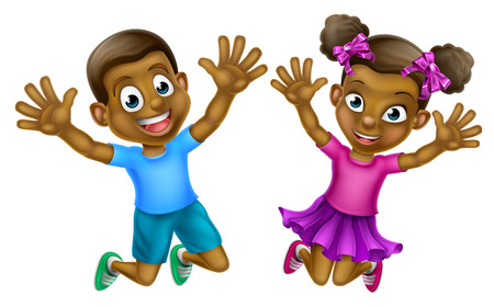 Happy cartoon young black boy and girl children jumping for joy with hands up Stock Illustratie