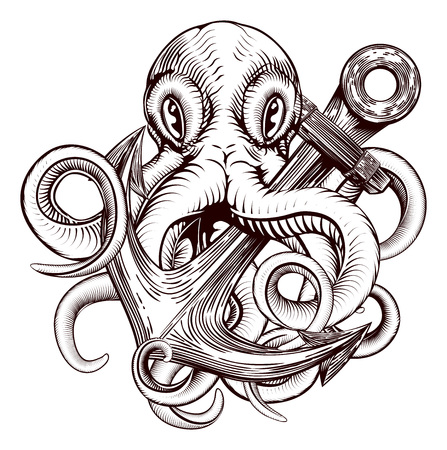 An original illustration of a tattoo of an octopus holding a ships anchor in a vintage woodblock style Фото со стока - 57979182