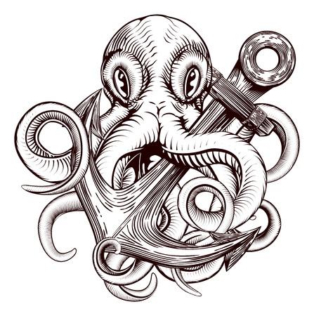 Une illustration originale d'un tatouage d'une pieuvre tenant un navires ancre dans un style xylographique cru Vecteurs