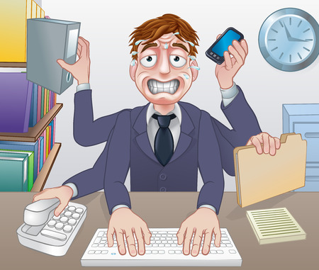 A cartoon stressed overworked sweating multitasking business man