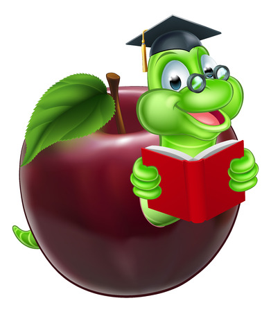 A happy cute cartoon caterpillar bookworm worm or caterpillar reading a book and coming out of an apple and wearing glasses and mortar board graduation hat