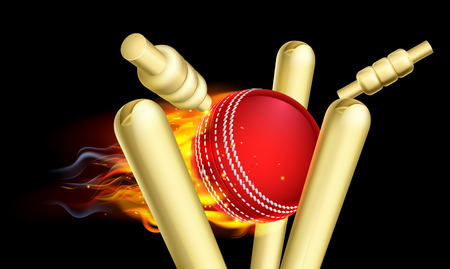 A flaming cricket ball on fire hitting wicket stumps