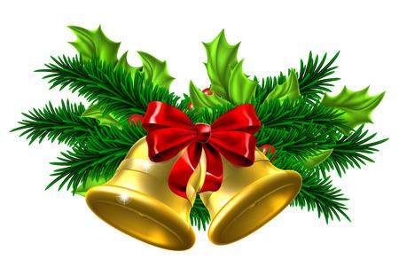 Weihnachtsbaumdekoration Ornamente festlich Design mit Gold Weihnachten Glocken, roter Schleife und Stechpalme