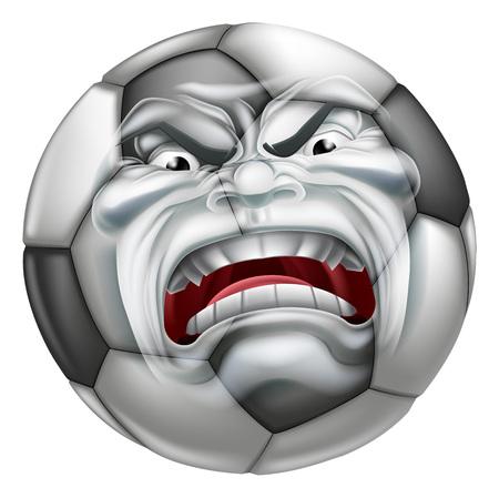 Een boze gemiddelde op zoek Voetbal balsporten cartoon mascotte karakter