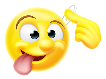 A happy emoji emoticon smiley face character pointing at his or her head making a screw loose gesture