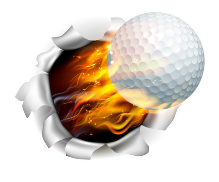 An illustration of a burning flaming golf ball on fire tearing a hole in the background Reklamní fotografie - 60175123