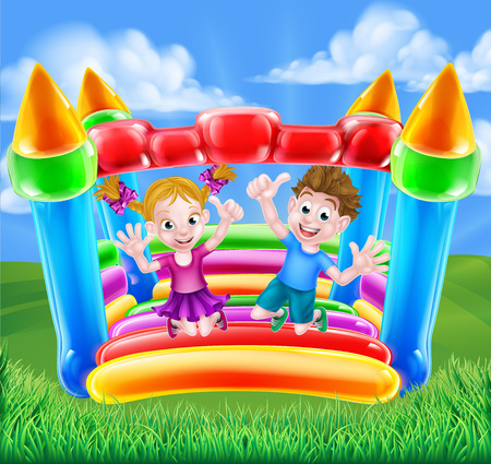 Cartoon young boy and girl having fun jumping on a bouncy castle 向量圖像