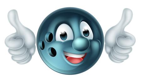 ボウリングのボール人スポーツ マスコット キャラクターやってダブル親指
