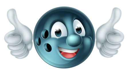 A bowling ball person sports mascot character doing a double thumbs up