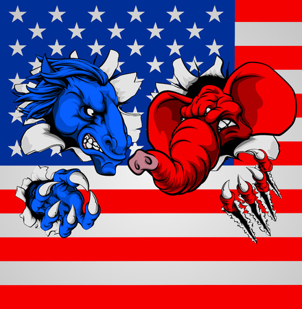American politics election concept with animal mascots of the democrat and republican political parties, a blue donkey and red elephant, fighting with the American flag in the background Illustration