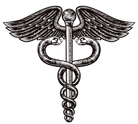 An illustration of the caduceus symbol of two snakes intertwined around a winged rod in a vintage woodcut style. Associated with healing and medicine. Illustration